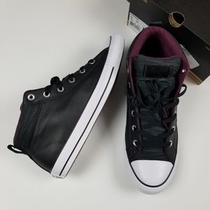 New CONVERSE leather padded mid top sneakers